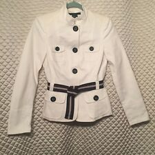 Zara Ivory Fitted Military Jacket with Woven Belt Size Medium