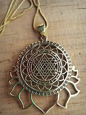Tribal Brass Sri Yantra Lotus  Flower of life pendant Mandala Necklace w chain