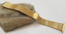 18 19 20 21 22 mm Vintage Gold Tone Mesh Interlock Watch Band Push Ends Nos