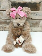 "Russ Marmie Mommy W/ Baby Teddy Bear Plush 16"" Long Shaggy brown with Pink Bow"