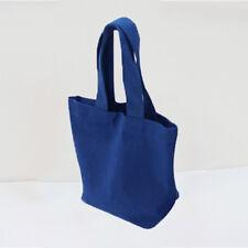 Candy Color Cotton Canvas Lunch Box Case Shopping Handbag Pocket Shoulder Bag