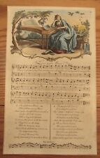 Antique sheet music hand colored engraving Love and Music Early English song