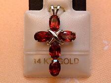 Exclusives Designer Granat Kreuz - 2,50 ct. - 14 Kt. Weiß Gold - 585 - Anhänger