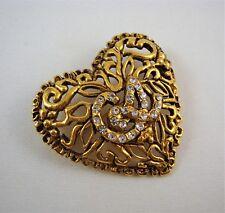 CHRISTIAN LACROIX Signature LOGO Heart Pin Gold Filigree Crystals STUNNING!