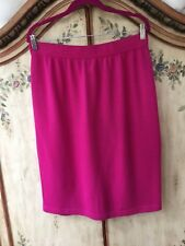 🌺 St John Collection Marie Gray Skirt Vivid Pink Size 14 Micro Boucle Knit $395