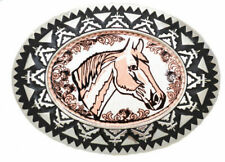 """Copper Belt buckle Horsehead with Filigree 3 1/2 """" x 2 1/2"""""""