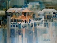 JO PATTON ARTIST SIGNED ORIGINAL WATERCOLOR PAINTING OF HOUSES