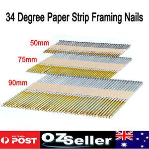 50mm 75mm 90mm Paper Strip Framing Nails 34 Degree Hot dip Galvanized Ring Shank