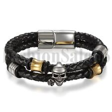 "8.07"" Mens Black Leather Wrap Skull Stainless Steel Clasp Bangle Cuff Bracelet"