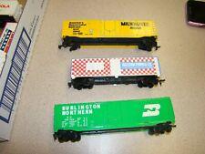 3 BOX CAR LOT--MILWAUKEE ROAD, BURLINGTON,RAISTON PURINA