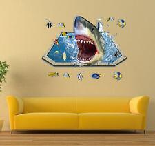 Shark Mangiare Pesci 3D Adesivo Vinile Da Parete Decorazioni Adesive