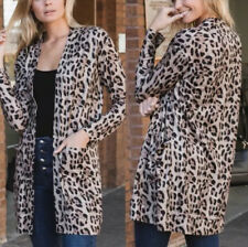 Amaryllis Animal Print Long Cardigan Sweater Pockets Leopard Cheetah Medium