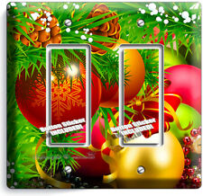 CHRISTMAS TREE BALL ORNAMENT DOUBLE GFI LIGHT SWITCH WALL PLATE COVER HOME DECOR