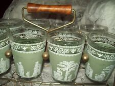 8 VINTAGE JASPERWARE Type GREEK PATTERN HELLENIC-GREEN 12oz TUMBLERS w/ CARRIER
