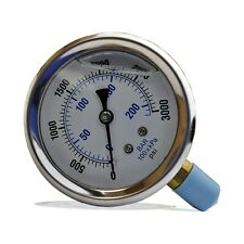 "2.5"" Liquid Filled 0 - 1000 PSI Air Pressure Gauge Lower Mount 1/4"" NPT"