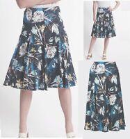 Ladies M&S Skirt Swing Midi Floral NAVY Print Jersey Vintage Tea Size 10 16 20