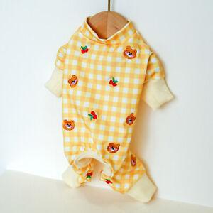 Cute Cherry Plaid Dog Jumpsuit Clothes Warm Dog Pajamas Puppy Cat Homewear Coats