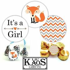 It's a Girl Sticker Labels Woodland Baby Shower Fox Chevron Kisses Candy Favors