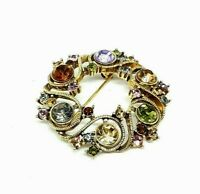 Vintage MONET Multi Color Rhinestone Gold Tone Brooch Pin EUC
