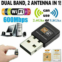 AC 600Mbps WLAN Stick dual band 2.4GHz / 5GHz WIFI Dongle USB Wireless Adapter