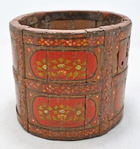 Vintage Wooden Small Paili Pot Original Old Hand Crafted Painted