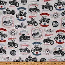 Cotton Retro Motorcycle Vintage Bikes Classic White Fabric Print by Yard D780.89