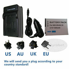 En-el12 Battery + Charger For Nikon Coolpix s6000 s6100 s6200 s6300 s8200 s9050