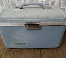 Vintage Starflite Luggage 1960s Hard Blue Train Case w/ Makeup Tray, Mirror