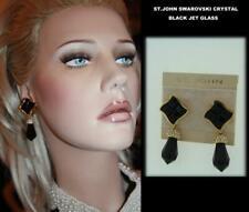ST JOHN Dramatic Black Jet Glass Swarovski Crystals Drop Earrings