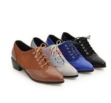 New Chic Pointy Toe Lace Up Brogues Cuban Heel Womens Oxfords Shoes Pumps E-06