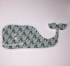 "Authentic Vineyard Vines Anchors With Bows Whale Sticker 4 1/2"" X 1 7/8"""