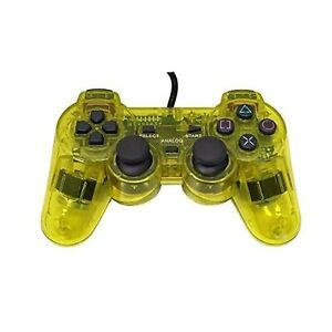 Lot Of 10 Wired Replacement Controller Transparent Yellow For PlayStation PlaySt