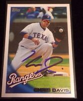 CHRIS DAVIS 2010 TOPPS Autographed Signed AUTO Baseball Card 255 RANGERS TEXAS