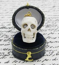 Bone Skull Genuine Diamond Eyes Pendant 14k Yellow Gold Memento Mori Mourning