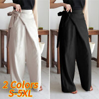 New Women High Waist Tie Up Casual Pants Wide Leg Palazzo Loose Trousers UK 8-26