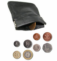 UNISEX MENS LADIES SOFT BLACK LEATHER COIN POUCH PURSE SNAP WALLET - UK STOCK