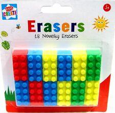 Brick Type Erasers  / 18 Rubbers  Brick Block Type :CRAFT/SCHOOL  WH3 305 :NEW