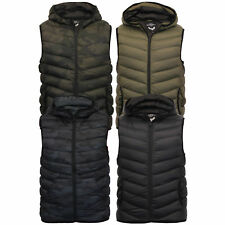 new mens gilet Brave Soul bodywarmer camo military hooded padded quilted winter
