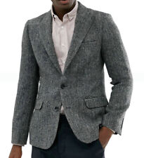Business Men Suits Herringbone Tuxedo Jacket Coat Balzer Wedding Formal Tailored