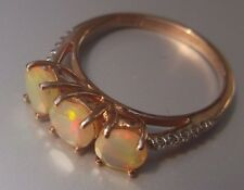 Women's 9ct Rose Gold Quality Opal & Diamond Stone Ring Size M Stamped W2.04g