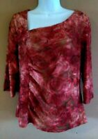 Tribal Top L Rust Velvet Burnout Ruched Stretch Knit Shirt Blouse Women's Large
