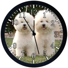 Bichon Frise Black Frame Wall Clock Nice For Decor or Gifts F40