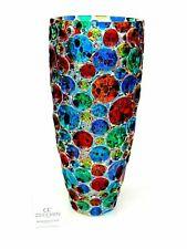 SIGNED - Giant 35cm X RARE Italian Art Glass Pezzato Circles Vase & Certificate