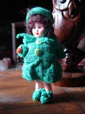"Made in England Rosebud doll in beautiful knit ensemble in green. Approx 7"" tall"