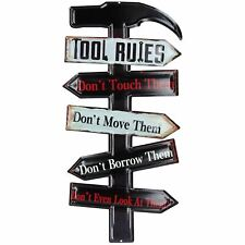 Hanging Retro Tool Rules Metal Sign Home Garage PrePunched Hole 25x50cm