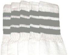 "22"" KNEE HIGH WHITE tube socks with GREY stripes style 1 (22-104)"