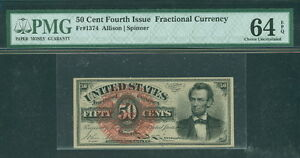 50¢ Fractional Currency, Fr. #1374, PMG Grade 64EPQ Choice UNC