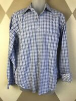 Bugatchi Uomo Mens Large L/S Button Front Blue White Plaid Check Flip Cuff Shirt