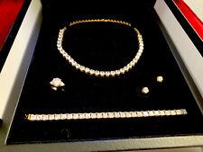 Complete Set 18k Gold Necklace, Bracelet, Ring, Earings Simulated Diamond 128k