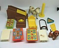 Vintage Fisher Price Little People Lot Of 13 Pieces Tables Stairs Cow Furniture